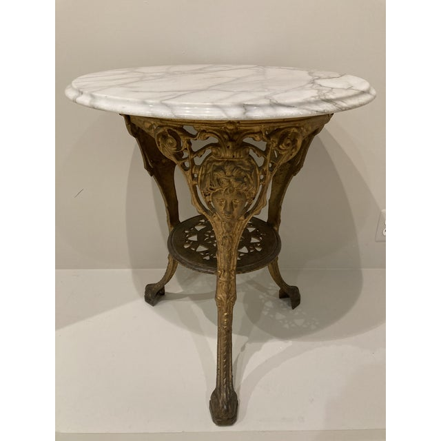 Vintage English Cast Iron Pub Table With Marble Top For Sale - Image 13 of 13