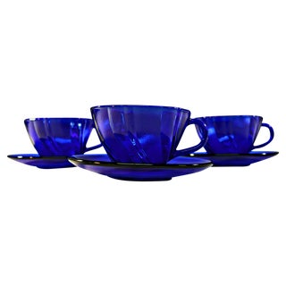 Cobalt Blue Glass Tea Cup and Saucer - Set of 3