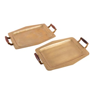Mid Century Brass Trays with Rosewood Handles - a Pair For Sale