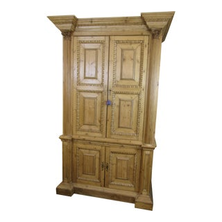 English Contemporary Pine Armoire For Sale