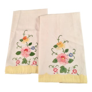 Springtime Floral Embroidered Tea Towels - a Pair
