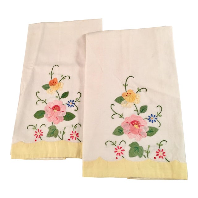 Springtime Floral Embroidered Tea Towels - a Pair - Image 1 of 5