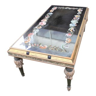 Vintage Art Nouveau Reverse Painted Mirrored Coffee Table, Hollywood Regency For Sale