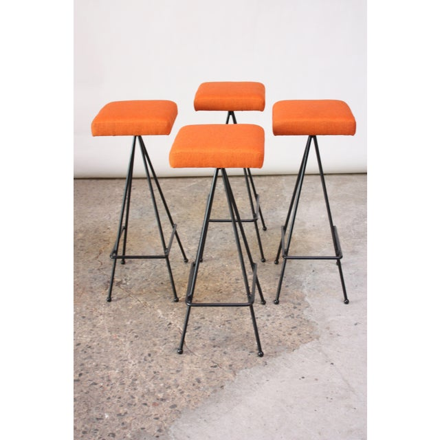 Mid-Century Modern Set of Four Adrian Pearsall #11 Iron Barstools For Sale - Image 3 of 11