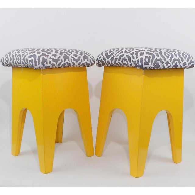 Mid-Century Modern Marigold Geometric Pattern Stools - A Pair For Sale In Sacramento - Image 6 of 8