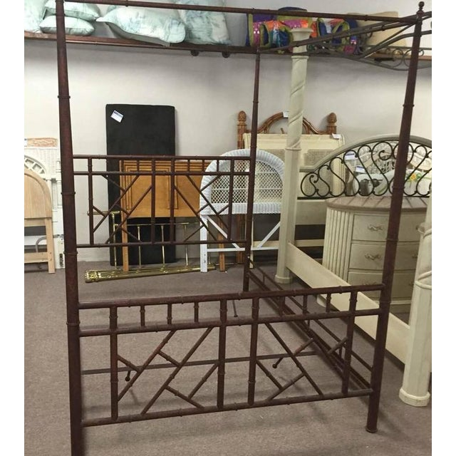 Vintage Chinese Chippendale Faux Bamboo Metal King-Size Canopy Bed For Sale - Image 4 of 5