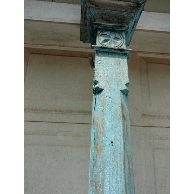 Antique Blue Ceylonese Temple Pillars - a Pair For Sale - Image 11 of 13