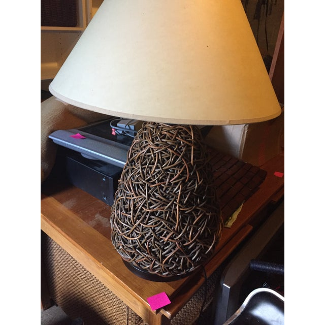 Handmade Jute and Rush Lamp With Shade For Sale - Image 4 of 11