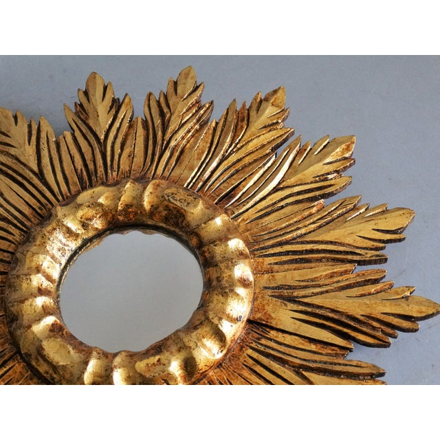 1960s French Carved Gilt Wood Sunburst Mirror For Sale - Image 5 of 9