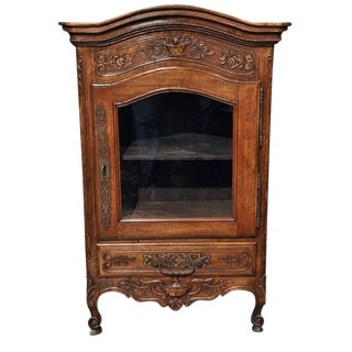 19th Century French Carved Walnut Vitrine