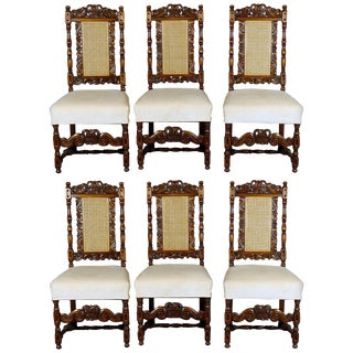 Vintage Kittinger Carved Walnut Gothic Style Dining Chairs- Set of 6 For Sale
