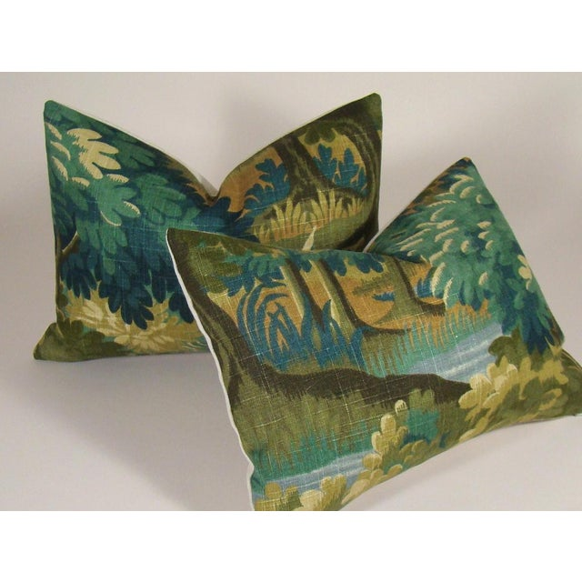 Olive Verdure Print Linen Lumbar Pillow Cover For Sale - Image 8 of 10