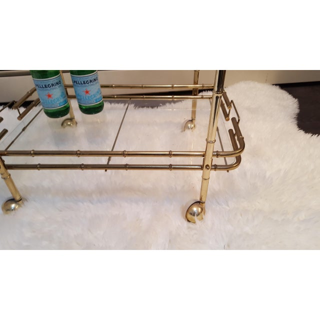Brass Plated Mid Century Bamboo Bar Cart - Image 6 of 11
