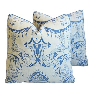 """Italian Mariano Fortuny Mazzarino Feather/Down Pillows 19"""" Square - Pair For Sale"""