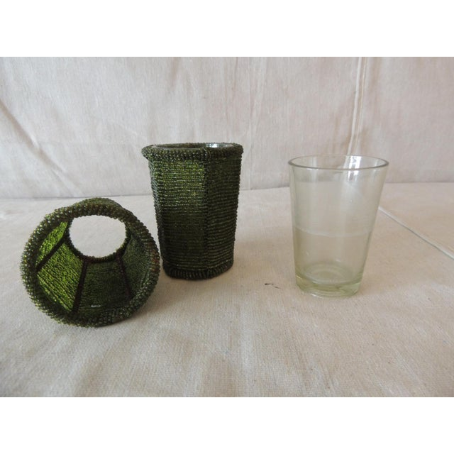 Boho Chic Emerald Green Glass Beaded Votive Holders For Sale - Image 3 of 5