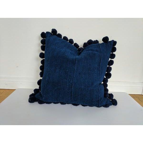 Solid Indigo Mudcloth Pom Poms Pillow - Image 5 of 6