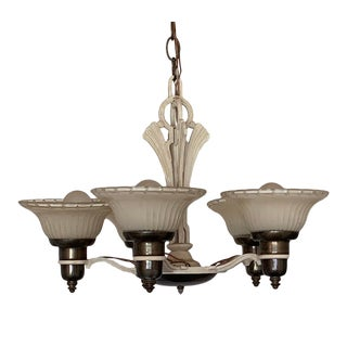 Antique Art Deco Ceiling Chandelier With Five Two Tone Set-In Shades 1930s For Sale