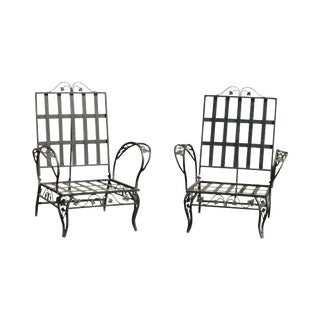 Quality Pair Vintage Wrought Iron Reclining Garden Lounge Chairs For Sale