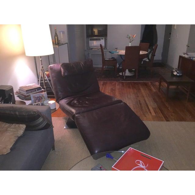 Natuzzi Zeta Brown Leather Chaise - Image 2 of 3