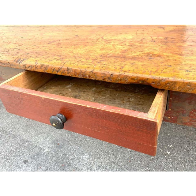 Late 19th Century Late 19th Century Southern Red Paint and Chestnut Farm Table For Sale - Image 5 of 13