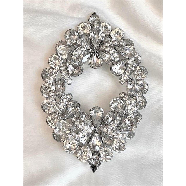 Silver 1960s Eisenberg Large Faceted Crystal Brooch For Sale - Image 8 of 9