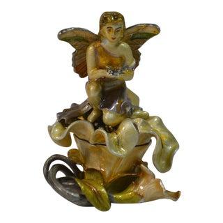 Dz, Enamel Angel Lidded Trinket Box With Swarovski Crystals, Signed For Sale