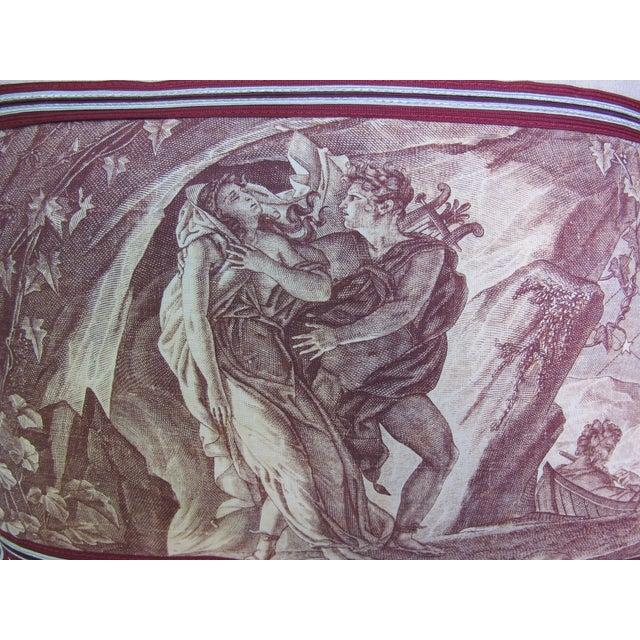 "Antique Toile de Jouy ""The Rapture"" Pillow For Sale - Image 4 of 5"