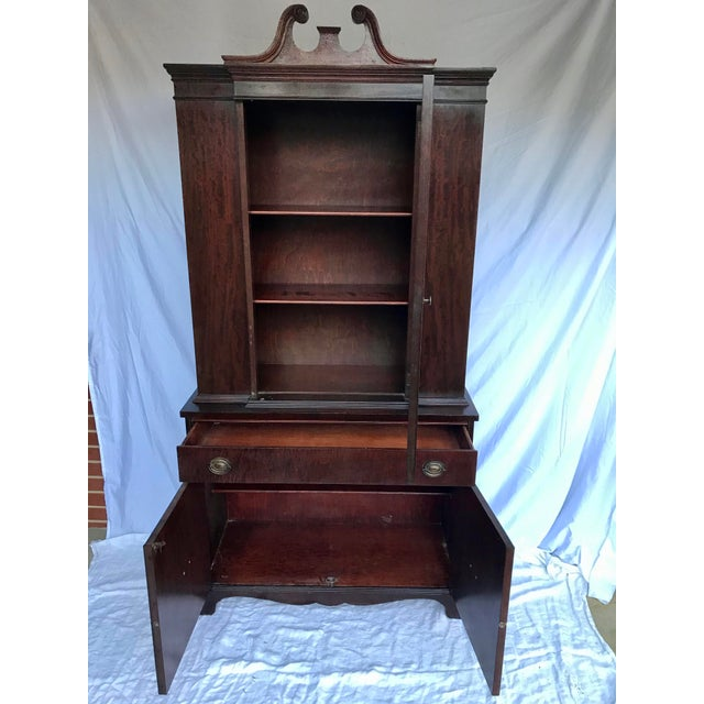Metal Antique Mahogany China Cabinet For Sale - Image 7 of 12