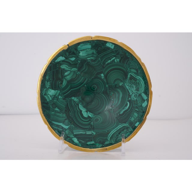 Vintage Round Malachite Dish With Scalloped Brass Rim For Sale - Image 10 of 10