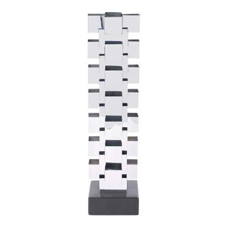 Curtis Jere Stacked Chrome Geometric Skyscraper Lamp For Sale