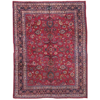 1910s Hand Made Antique Persian Mashad Rug - 8′8″ × 11′ For Sale