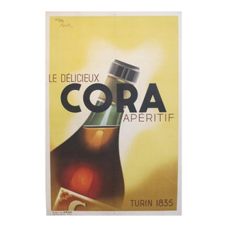 Original 1934 French Art Deco Poster, Cora Apertif