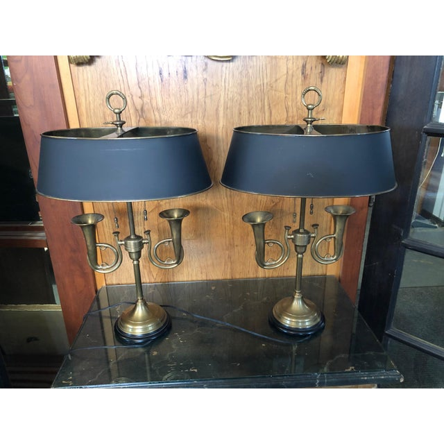 1950s Brass French Horn Bouillotte Table Lamps - a Pair For Sale - Image 4 of 13