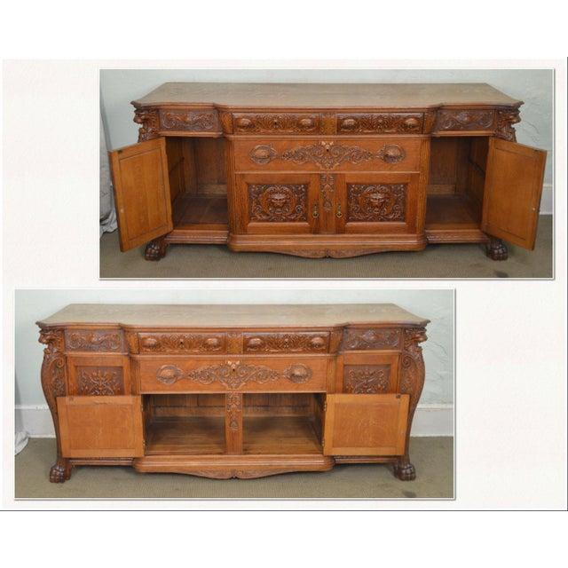 *STORE ITEM #: 17444 Horner Antique Lion Carved Large Oak Sideboard AGE / ORIGIN: Approx. 125 years, America DETAILS /...