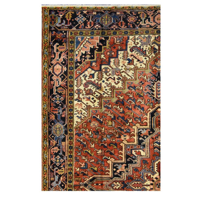 Islamic Vintage Handmade Persian Heriz Rug - 7'6''x11'1'' For Sale - Image 3 of 4