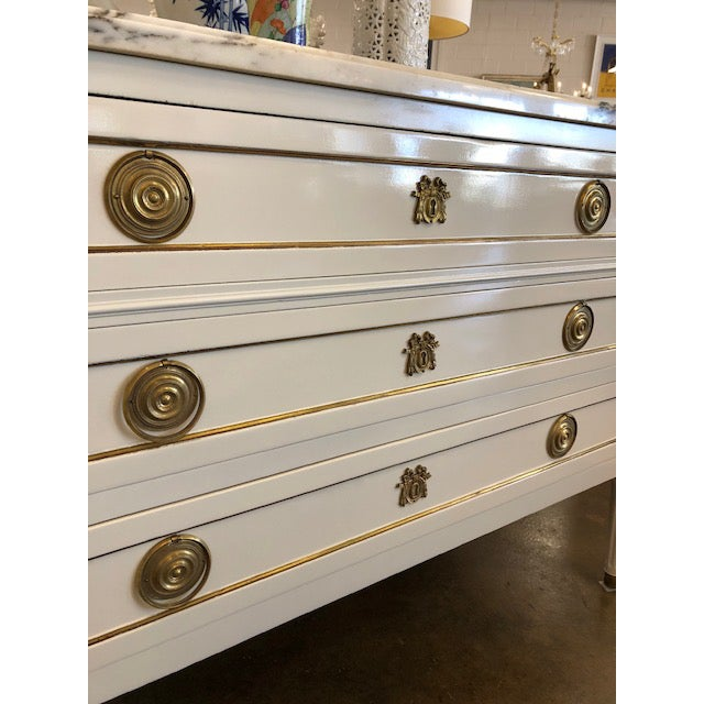 19th century Napoleon III Lacquered commode refinished in crisp lacquer and gold accent. Carrara marble top.