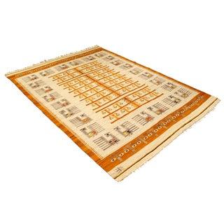 Mid Century Modern Wanda Krakow Flat Weave Wool Area Rug - 5′4″ × 7′5″ For Sale