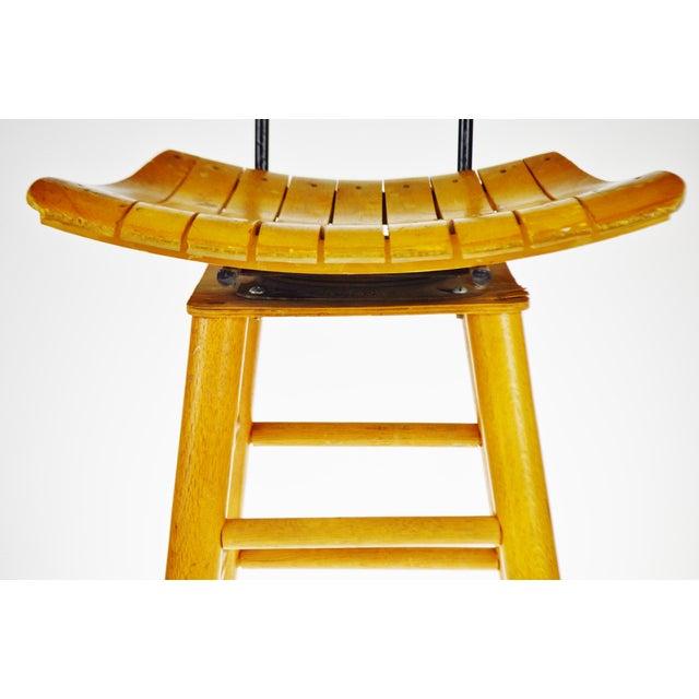Mid Century Arthur Umanoff Style Slatted Wood Swivel Stool For Sale - Image 9 of 13