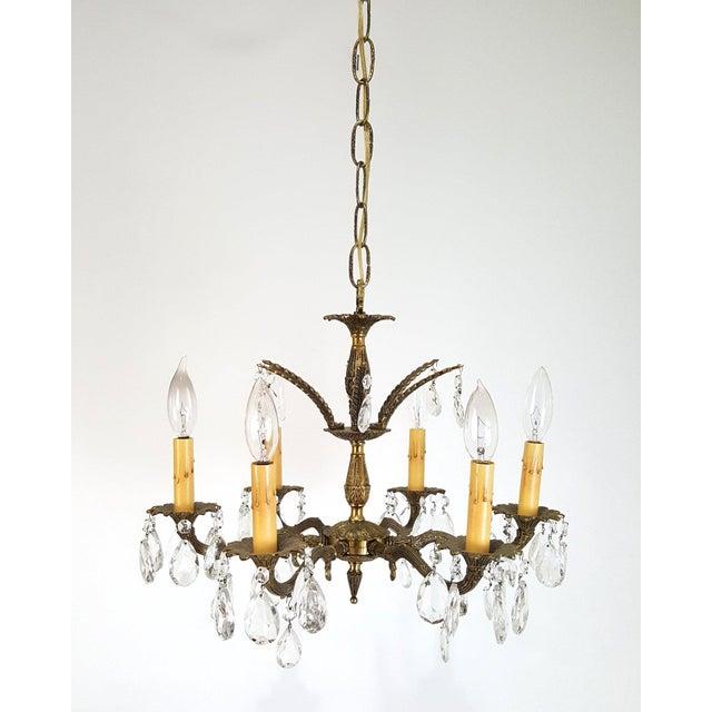 Hollywood Regency Ornate Solid Brass & Crystal Chandelier For Sale - Image 4 of 11