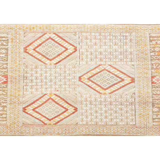 Islamic Intricate Soumak Area Rug in Soft Neutral Tones; Beige, Green and Red For Sale - Image 3 of 9