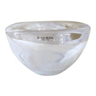 Vintage Kosta Boda White Swirl Glass Tea Light Candle Holder For Sale