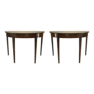 Pair of Italian Neoclassic '19th Century' Demilune Top Console Tables For Sale