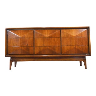 Mid Century Diamond Front Dresser or Credenza by United