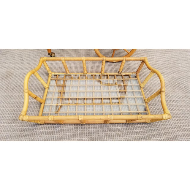 Vintage Boho Chic Rattan & Bamboo Rolling Bar Cart For Sale - Image 9 of 13