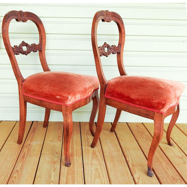 Late 19th Century Antique Walnut Hand Carved Velvet Side Chairs - a Pair For Sale - Image 5 of 12