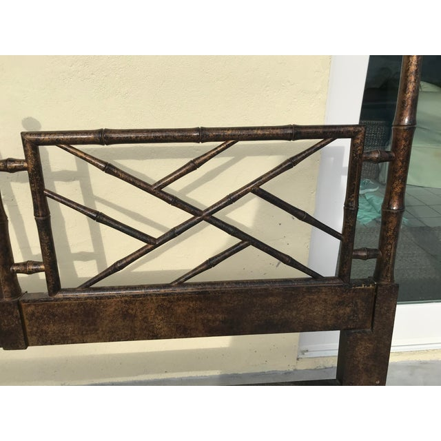 1980s Chinese Chippendale Henredon Artefacts Collection Faux Bamboo and Tortoise Shell King Size Headboard For Sale - Image 5 of 12