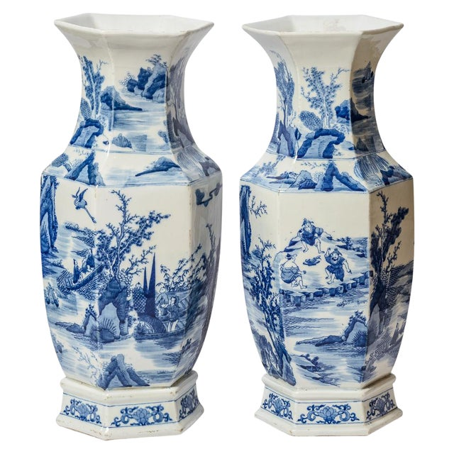 20th C. Tall Chinese Blue & White Vases - a Pair For Sale