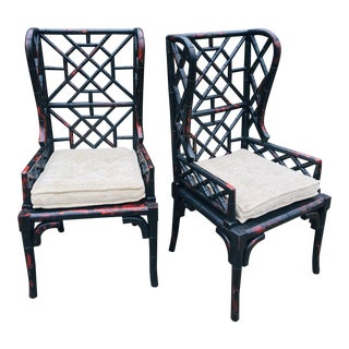 Guild Master Faux Bamboo Wing Chairs – a Pair For Sale