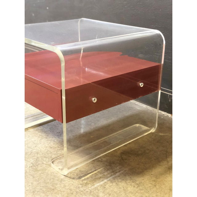 Contemporary Lucite Side Table With Drawer For Sale - Image 3 of 4