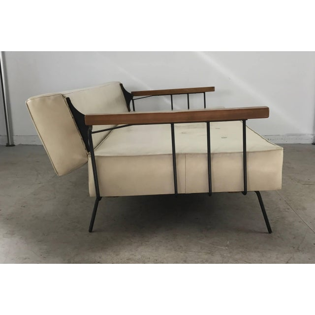 John Salterini Classic Modernist Iron and Wood Sofa/Daybed in the Manner of Weinberg-Salterini For Sale - Image 4 of 10